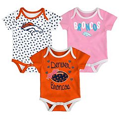 Baby Denver Broncos Heart Fan 3-Pack Bodysuit Set