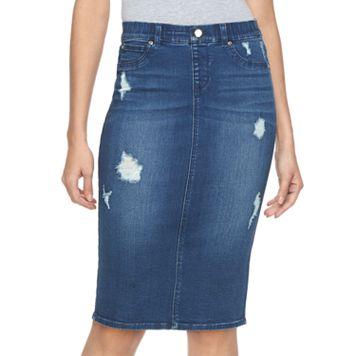 Women's Jennifer Lopez Destructed Denim Midi Pencil Skirt