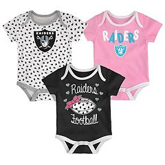 Baby Oakland Raiders Heart Fan 3-Pack Bodysuit Set