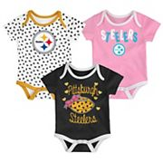 Baby Pittsburgh Steelers Heart Fan 3-Pack Bodysuit Set
