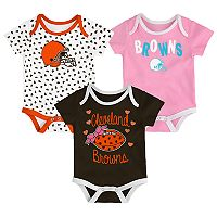 Baby Cleveland Browns Heart Fan 3-Pack Bodysuit Set
