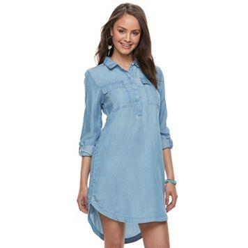 Juniors' SO® Chambray Utility Shirt Dress