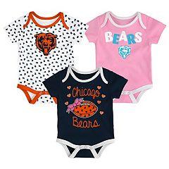 Baby Chicago Bears Heart Fan 3-Pack Bodysuit Set