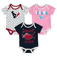 Baby Houston Texans Heart Fan 3-Pack Bodysuit Set