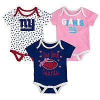Baby New York Giants Heart Fan 3-Pack Bodysuit Set