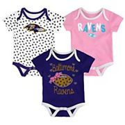 Baby Baltimore Ravens Heart Fan 3-Pack Bodysuit Set