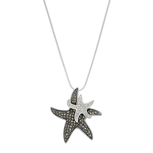 Silver Plated Crystal & Marcasite Starfish Pendant Necklace