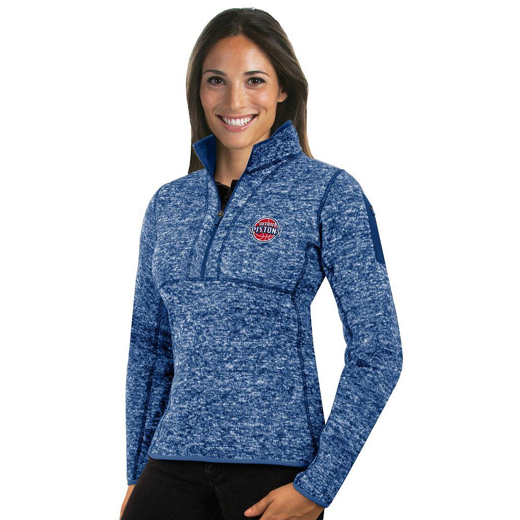 Women's Antigua Detroit Pistons Fortune Pullover