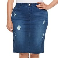 Plus Size Jennifer Lopez Destructed Jean Skirt