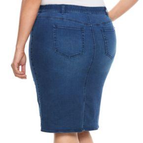 Plus Size Jennifer Lopez Destructed Jean Skirt
