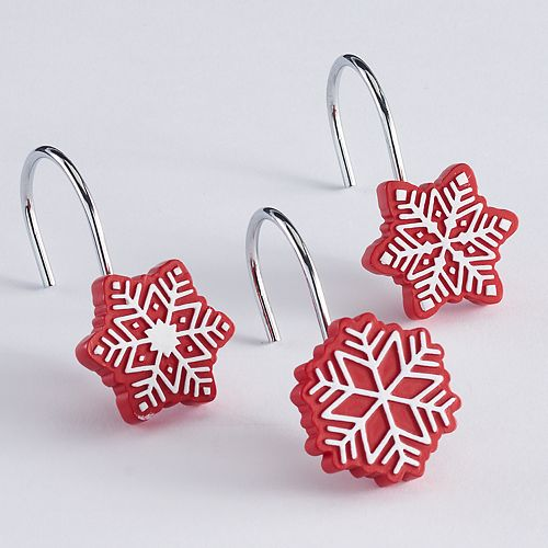 St Nicholas SquareR Christmas Traditions Snowflake Shower Curtain Hooks