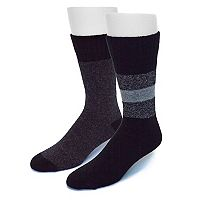 Men's Croft & Barrow® 2-pack Striped & Solid Wool-Blend Boot Socks