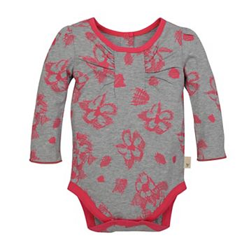 Baby Girl Burt's Bees Baby Organic Floral Ruched Bodysuit