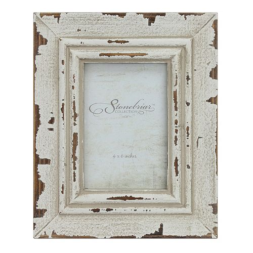 "Stonebriar Collection Weathered White 4"" x 6"" Frame"