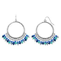 Blue Shaky Bead Hammered Circle Drop Earrings