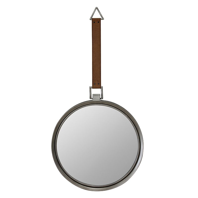Stonebriar Collection Rustic Round Metal Wall Mirror, Brown, Medium