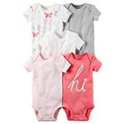 Baby Girl Carter's 5 pkPink Graphic Bodysuits