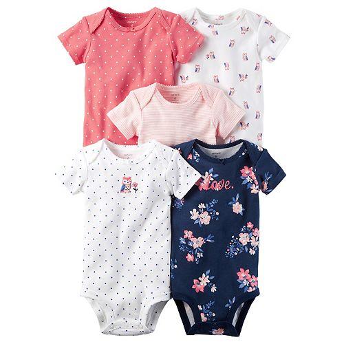 Baby Girl Carter's 5-pk. Graphic, Stripe & Dot Bodysuits