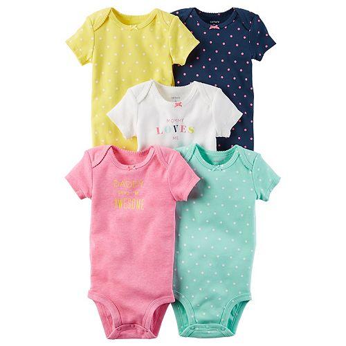 Baby Girl Carter's 5-pk. Dot & Graphic Bodysuits