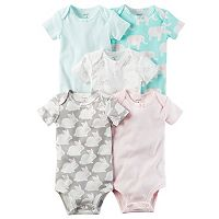 Baby Girl Carter's 5 pkStripes & Animal Bodysuits