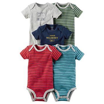 Baby Boy Carter's 5-pk. Short Sleeve Mommy & Daddy Striped Bodysuits