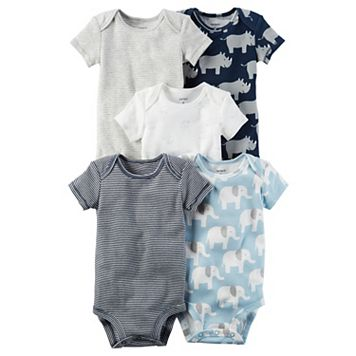 Baby Boy Carter's 5-pk. Short Sleeve Elephant & Rhino Bodysuits