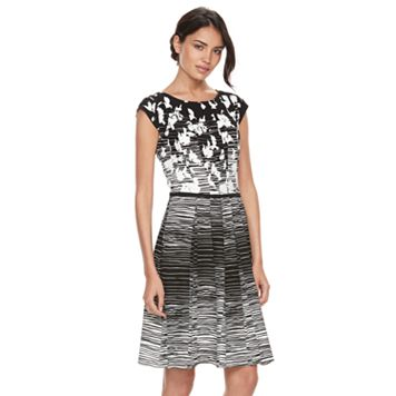 Women's ELLE™ Abstract Floral Fit & Flare Dress