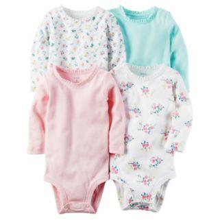 Baby Girl Carter's 4-pk. Solid & Print Bodysuits