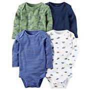 Baby Boy Carter's 4 pkLong Sleeve Dinosaur Bodysuits
