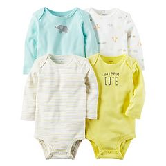 Baby Carter's 4-pk. Long Sleeve 'Super Cute' Bodysuits