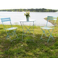 Malibu Outdoor Bistro Table & Folding Chair 3 pc Set