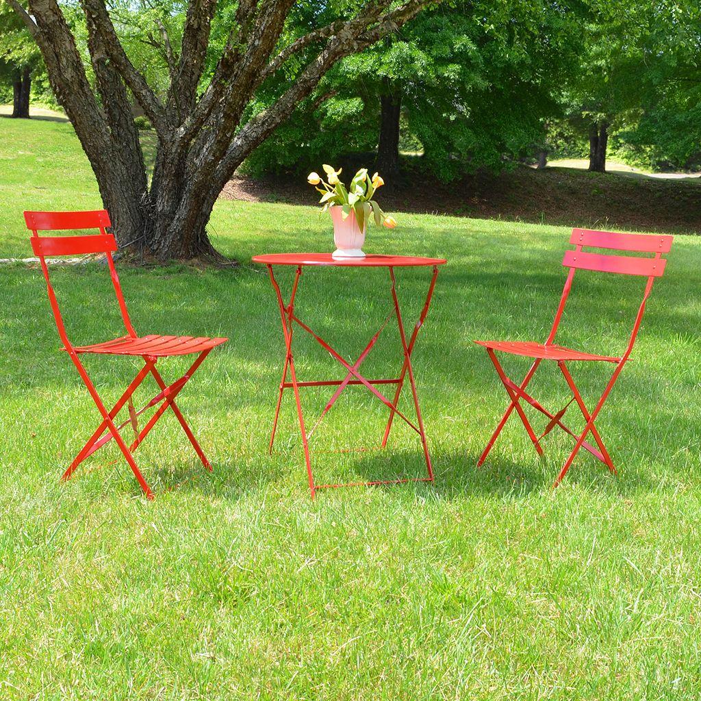 Malibu Outdoor Bistro Table & Folding Chair 3-piece Set