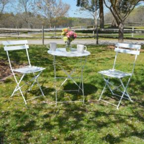 Malibu Outdoor Bistro Table & Folding Chair 3-piece Set