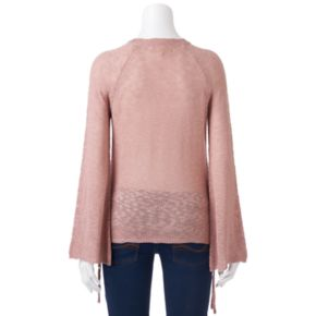 Juniors' Pink Republic Lace-Up Side Sweater