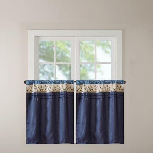 Madison Park Belle Embroidered Tier Kitchen Window Curtain
