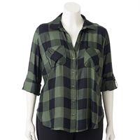 Plus Size Rock & Republic® Plaid Roll-Tab Shirt