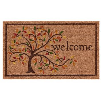 Mohawk® Home Swirly Fall Tree ''Welcome'' Coir Doormat - 18'' x 30''