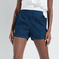 k/lab Ruffle Pocket Jean Shortie Shorts