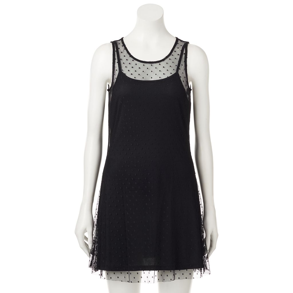 Juniors' Wallflower Sleeveless Dot Mesh Dress
