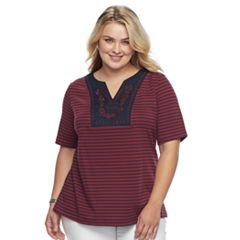 Plus Size Croft & Barrow® Floral Embroidered Top