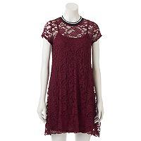 Juniors' Wallflower Striped Lace Swing Dress