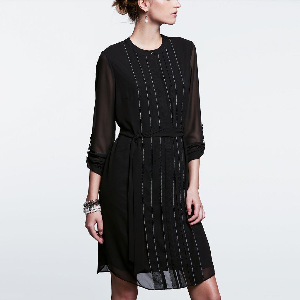 Women's Simply Vera Vera Wang Simply Noir Picot Shirtdress