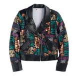 Disney D-signed Descendants 2 Girls 7-16 Foil Printed Text Moto Jacket