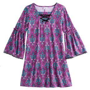 Disney D-Signed Descendants 2 Girls 7-16 Lace-Up Patterned Bell Sleeve Dress