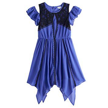 Disney D-signed Descendants 2 Girls 7-16 Cold Shoulder Lace Trim Handkerchief Hem Dress