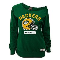 Juniors' Green Bay Packers Wide Receiver Off the Shoulder Sweatshirt