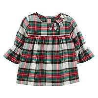 Toddler Girl Carter's Ruffle Sleeve Plaid Top