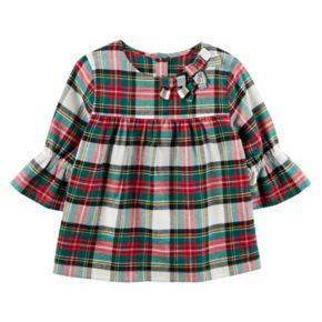 Toddler Girl Carter's Ruffle Sleeve Plaid Top