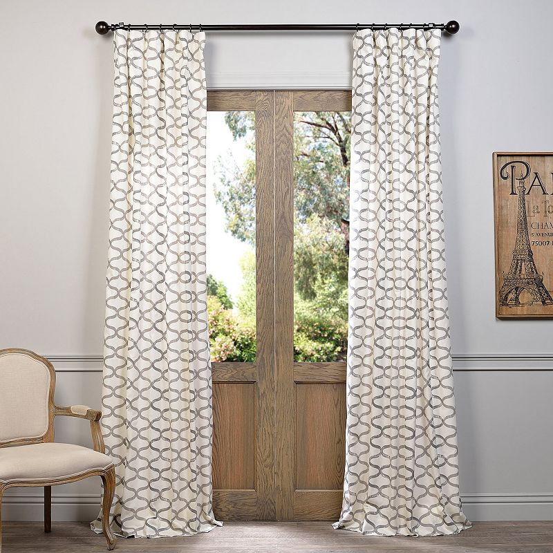 EFF 1-Panel Illusions Printed Window Curtain, Med Grey, 50X120