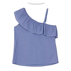 Girls 7-16 IZ Amy Byer Mini Stripe One-Shoulder Top with Choker Necklace